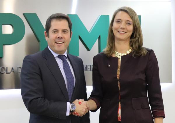 Gerardo Cuerva, presidente de CEPYME, y Ángela de Miguel, socia directora de NEGOTIA