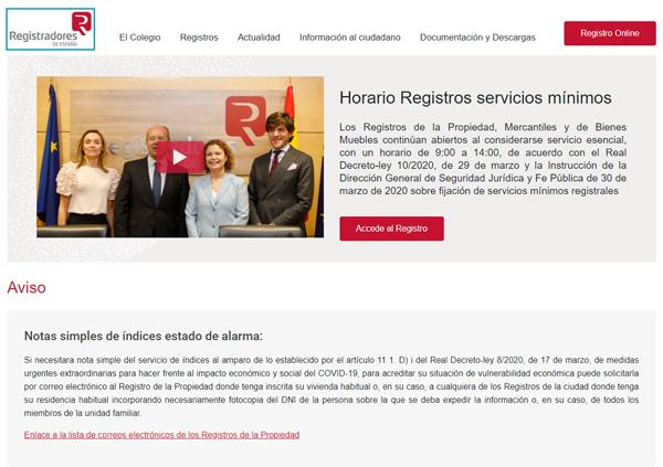 Web Colegio de Registradores