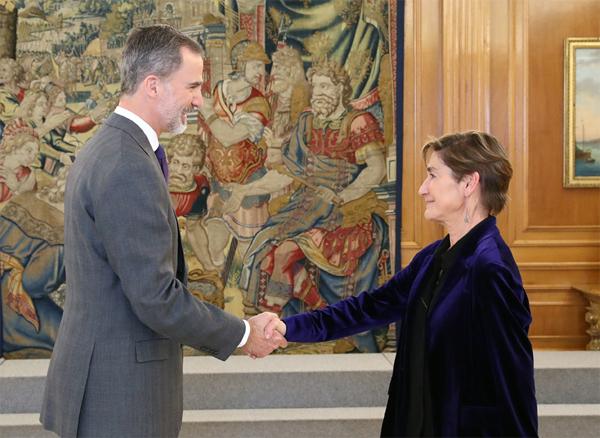 SM el Rey, Felipe VI,  y Victoria Ortega en una foto de archivo