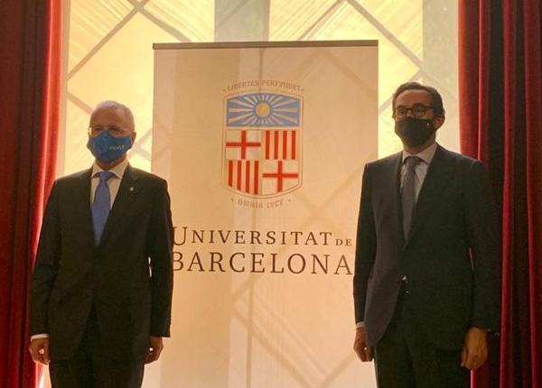 Joan Elias, rector de la Universidad de Barcelona y Enrique Sanz Fernánez-Lomana, presidente Fundación Mutualidad Abogacía