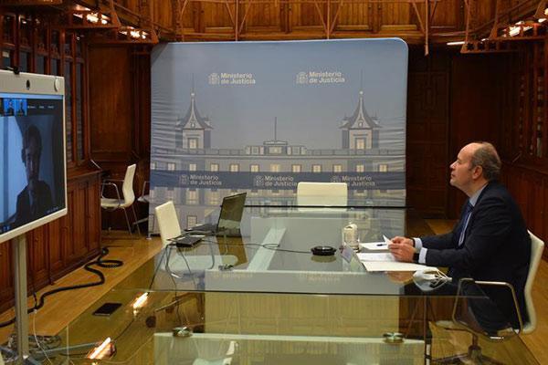 Juan Carlos Campo, ministro de Justicia, durante la inauguración