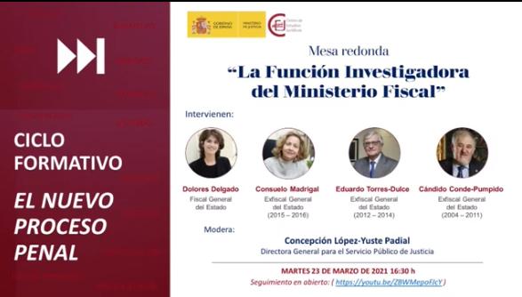 """webinar """"La función investigadora del Ministerio Fiscal"""""""