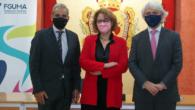 Antonio Lara, Yolanda García Calvente y Salvador González, en el Colegio de Abogados de Málaga
