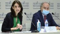 La ministra de Justicia, Pilar Llop, y el presidente del CGPE, Juan Carlos Estévez