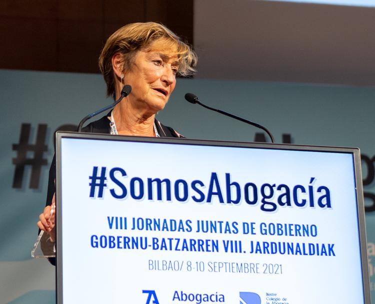 Victoria Ortega, presidenta del Consejo General de la Abogacía en la lectura de la Declaración Final